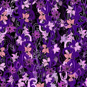 Purple Vines and Flowers