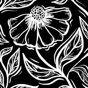 Night Floral - large scale black and white floral