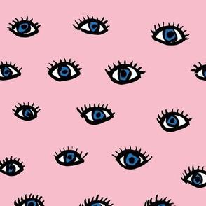 Little flirty blue eyes and lashes love flirt valentine make up  pink nursery