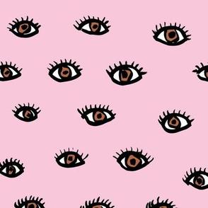 Little flirty brown eyes and lashes love flirt valentine make up neutral nursery pink brown