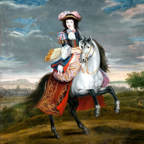 Marie Antoinette inspired baroque Victorian hat tricorne beautiful lady woman Riding habit  horseback riding equestrian horsewoman rider white horse grey clouds sky countryside mountains trees scenery town skyline pink feathers androgynous  black jacket p