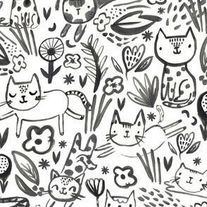 Painterly Frolicking Cats - Large