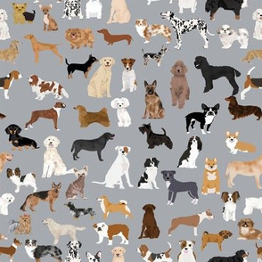 SMALL - dogs grey fabric cute dog design best dogs grey fabric dogs dog breed fabric dog print dog pattern best dog design