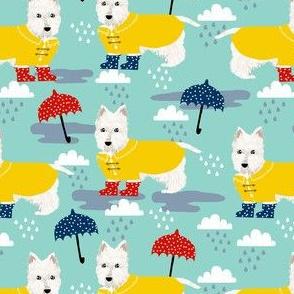 westie dog in rainboots fabric - rainy day dog fabric, umbrella and rainboots, dog dots - mint