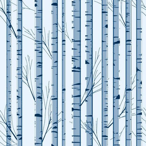 Birch Wood Trees on Blue Snowy Day Limited Color Palette Design Challenge
