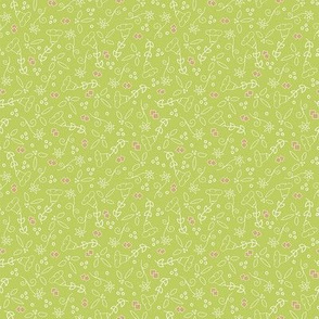 Spring Green and Gold Ditsy Floral
