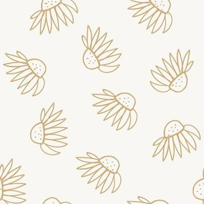 Gold Echinacea Flower Lines Drawing