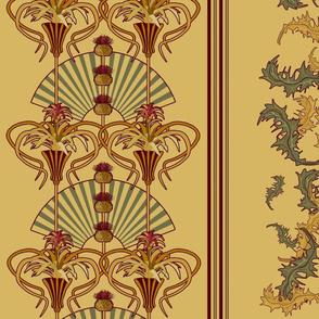 Art Nouveau Thistle and Bromeliad