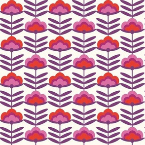 SMALL -  - 70s Happy Flower - 70s flower, 70s floral, 70s wallpaper, 70s fabric, 70s design - red and purple