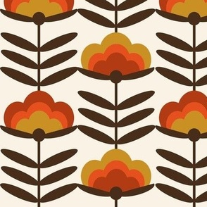 LARGE _  - 70s Happy Flower - 70s flower, 70s floral, 70s wallpaper, 70s fabric, 70s design - rust