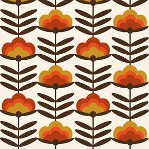 MED  - 70s Happy Flower - 70s flower, 70s floral, 70s wallpaper, 70s fabric, 70s design - rust