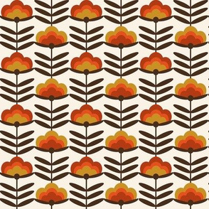 SMALL - - 70s Happy Flower - 70s flower, 70s floral, 70s wallpaper, 70s fabric, 70s design - rust