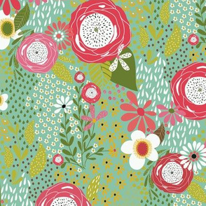 Whimsy Floral |Bright Pink Blue|Renee Davis                                                                                                                                                             Whimsy