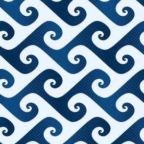 halftone spiral waves in classic blue