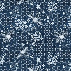 Blue  6 inch Honey, bee mine chalk hexagon