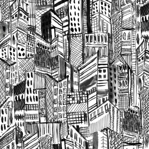 black and white painterly city scape