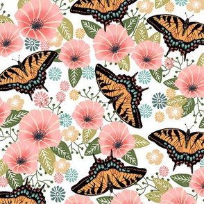 swallowtail butterfly floral fabric - floral fabric, butterfly fabric, tiger swallowtail, trumpet flowers - white