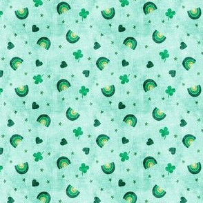 (micro scale) Rainbows and clovers - St Pattys Day - Lucky Rainbows - green on aqua - C20BS