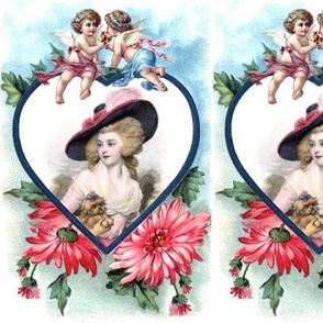 heart love Marie Antoinette inspired pink gowns dress baroque victorian blue big hat beautiful lady woman red flowers floral cherub putti cupids  leaf leaves dogs puppy pet valentine wings angels children vintage shabby chic antique beauty rococo portrait