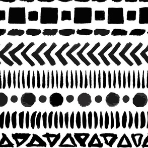 Black and White Geometric Shapes Doodle Stripes