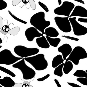 Black and white with bees 2
