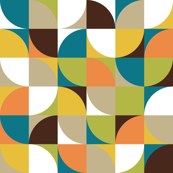 retro mod white mustard teal orange green brown beige
