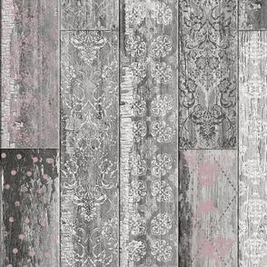 Vintage Wood Tiles Random Pink Grey