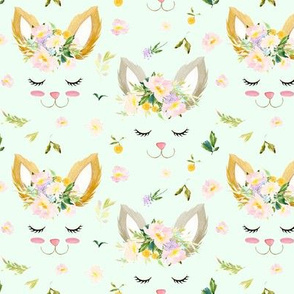 Bunnies and Spring Florals // Hint of Green