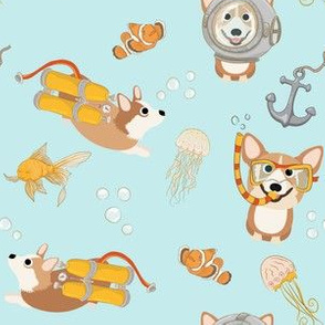 "6"" Diving Corgis - Corgi in the sea -  blue"