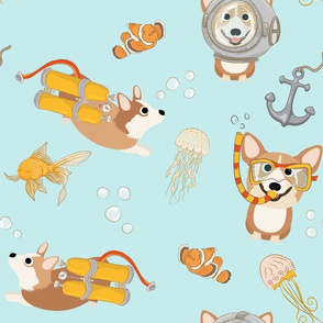 "12"" Diving Corgis - Corgi in the sea -  blue"