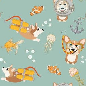 "6"" Diving Corgis - Corgi in the sea - teal"