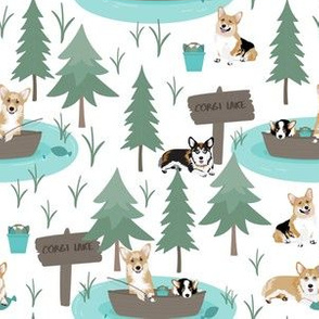 "6"" cute welsh cardigan corgis are fishing in forest lake painted sport design corgi lovers will adore this fabric -white"