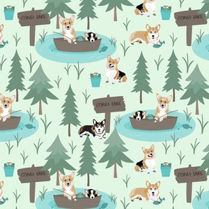 "6"" cute welsh cardigan corgis are fishing in forest lake painted sport design corgi lovers will adore this fabric -white -green"
