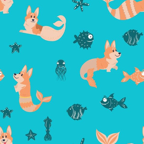 "12"" cute welsh cardigan corgis are mermaids in the deep ocean animals design corgi lovers will adore this fabric -blue"