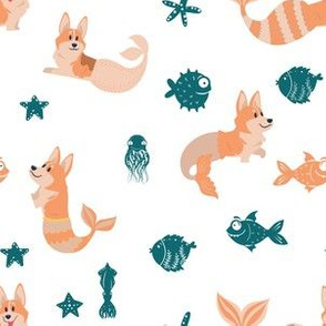 "6"" cute welsh cardigan corgis are mermaids in the deep ocean animals design corgi lovers will adore this fabric -blue"