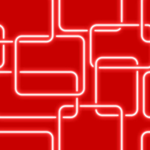 white neon light effect square red background
