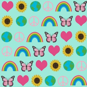 earth love fabric, peace, love, sunflowers, butterflies - earth fabric - mint and pink