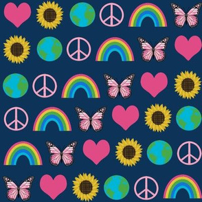 earth love fabric, peace, love, sunflowers, butterflies - earth fabric - navy and pink