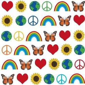 earth love fabric, peace, love, sunflowers, butterflies - earth fabric - primary