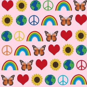 earth love fabric, peace, love, sunflowers, butterflies - earth fabric - primary pink