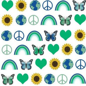earth love fabric, peace, love, sunflowers, butterflies - earth fabric - green on white