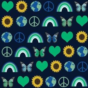 earth love fabric, peace, love, sunflowers, butterflies - earth fabric - green