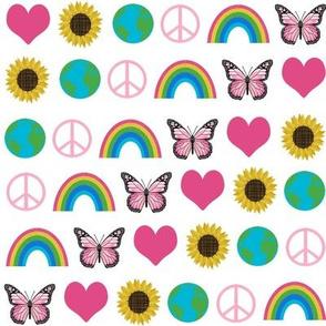 earth love fabric, peace, love, sunflowers, butterflies - earth fabric - white