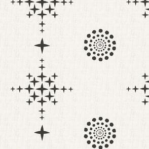 Southwest Circles & Crosses-XLarge-Black On Ecru