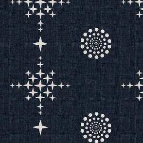 Southwest Circles & Crosses-XLarge-Ecru On Soft Black