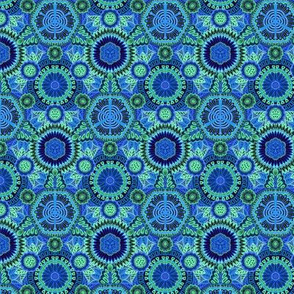 Kaleidoscopic Floral Dark Blue and Green small scale