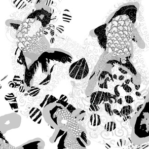 Black and White Bubbles & Squeak Koi Fish