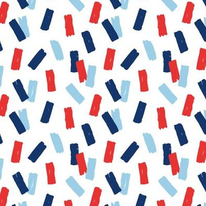 Navy red abstract minimal confetti strokes USA american national holiday 4th of july party