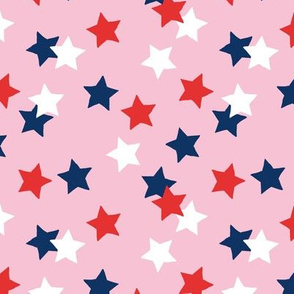 Navy red stars USA american national holiday 4th of july pink MEDIUM