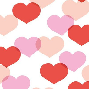Sweet large valentine hearts in red and pink girls